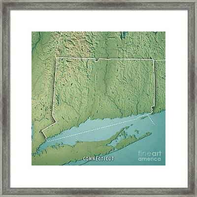 Connecticut State Usa 3d Render Topographic Map Border Framed Print
