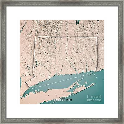 Connecticut State Usa 3d Render Topographic Map Neutral Framed Print