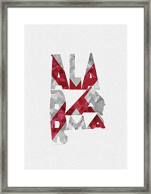 Framed Print featuring the painting Alabama Typographic Map Flag by Inspirowl Design