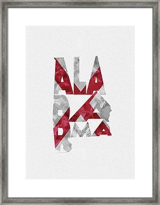 Alabama Typographic Map Flag Framed Print