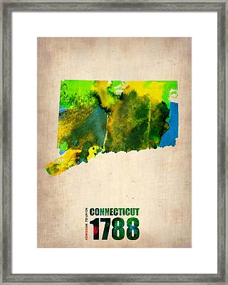 Connecticut Watercolor Map Framed Print by Naxart Studio