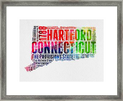 Connecticut Watercolor Word Cloud Map Framed Print by Naxart Studio