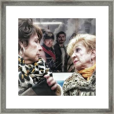 Connection #women #underground #metro Framed Print by Rafa Rivas
