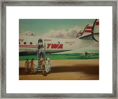 Connie Crew Deplaning At Columbus Framed Print by Frank Hunter