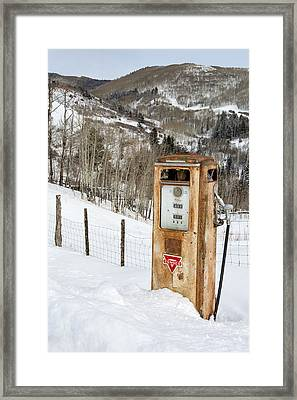 Conoco In The Snow Framed Print