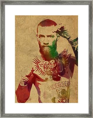 Conor Mcgregor Ufc Fighter Mma Watercolor Portrait On Old Canvas Framed Print by Design Turnpike