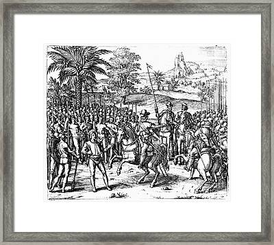 Conquest Of Inca Empire Framed Print by Granger