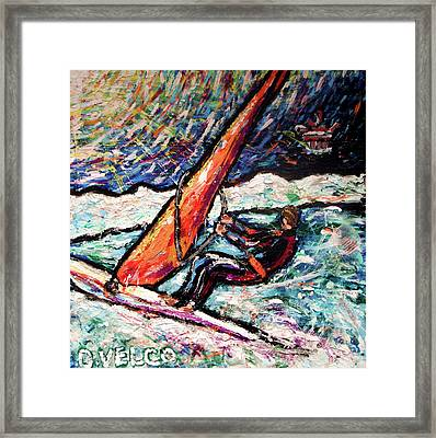 Conscience Surfer Framed Print by Dennis Velco