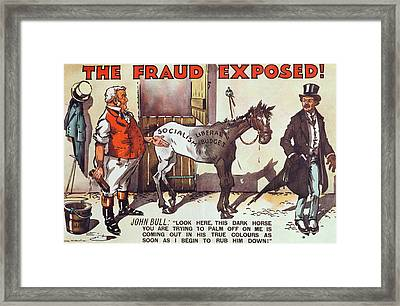 Conservative Poster Against Old Age Pensions Framed Print