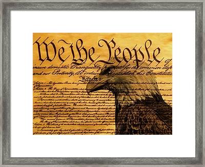 Constitution And Bald Eagle Framed Print