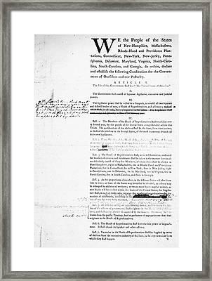 Constitution: Draft, 1787 Framed Print
