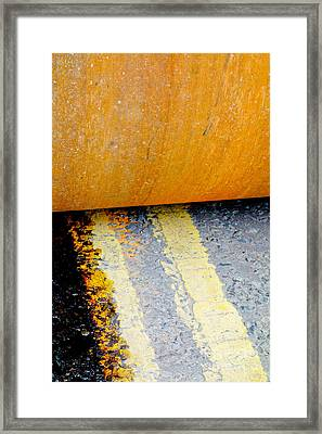 Construction 03 - Hamm Roller On Double Yellow Lines Framed Print by Pete Edmunds
