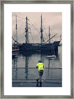 Construction Break On Boston Harbor Framed Print
