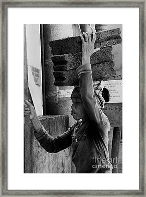 Framed Print featuring the photograph Construction Labourer - Bw by Werner Padarin