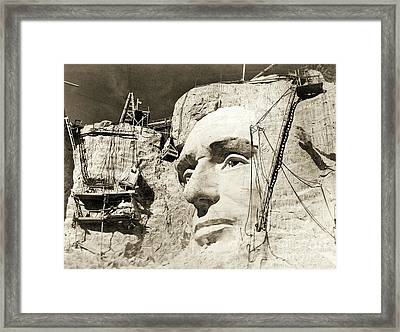 Construction Of The Mount Rushmore National Memorial, Detail Of Abraham Lincoln,1928  Framed Print