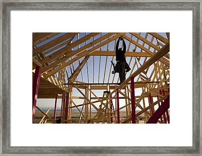 Construction On A New Home Where Framed Print