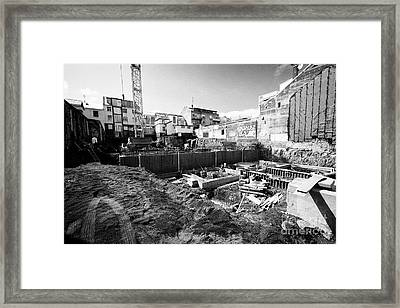 construction site with basement excavation in downtown reykjavik city centre Iceland Framed Print