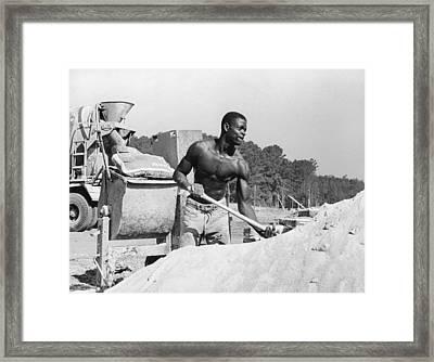 Construction Worker And Cement Truck Framed Print by Matt Plyler