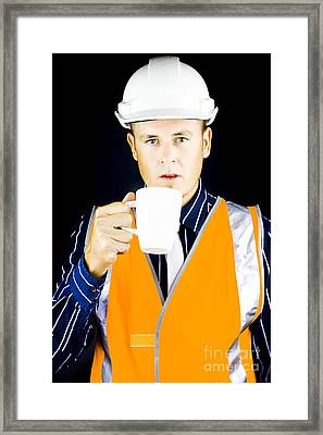 Construction Worker Having Coffee Framed Print