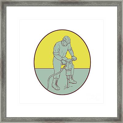 Construction Worker Operating Jackhammer Oval Drawing Framed Print by Aloysius Patrimonio