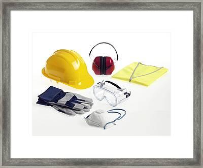 Construction Worker's Safety Equipment Framed Print by Tek Image