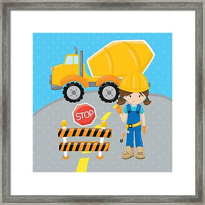 Construction Zone - Concrete Truck Roadwork In Progress Gifts #16 Framed Print by Life Over Here