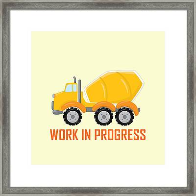 Construction Zone - Concrete Truck Work In Progress Gifts - Yellow Background Framed Print by Life Over Here