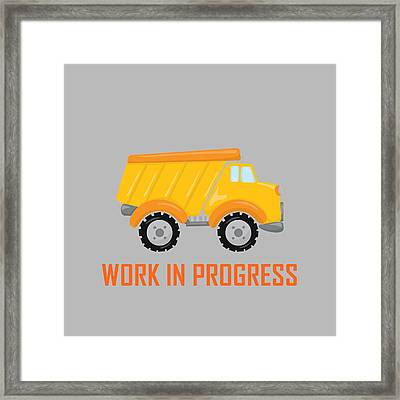 Construction Zone - Dump Truck Work In Progress Gifts - Grey Background Framed Print by Life Over Here