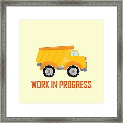 Construction Zone - Dump Truck Work In Progress Gifts - Yellow Background Framed Print by Life Over Here