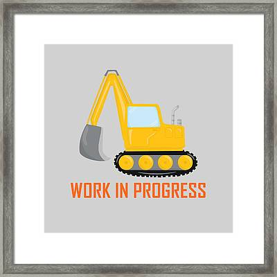 Construction Zone - Excavator Work In Progress Gifts - Grey Background Framed Print by Life Over Here