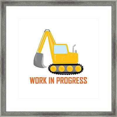 Construction Zone - Excavator Work In Progress Gifts - White Background Framed Print by Life Over Here