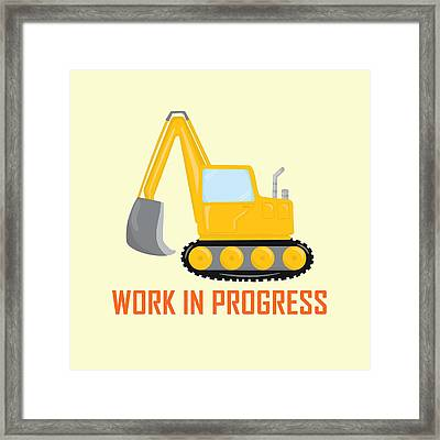Construction Zone - Excavator Work In Progress Gifts - Yellow Background Framed Print by Life Over Here