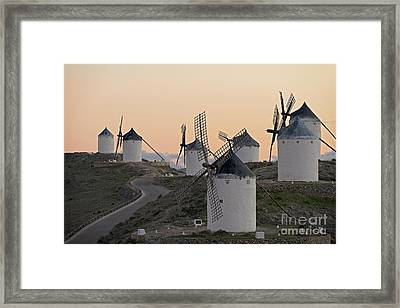 Framed Print featuring the photograph Consuegra Windmills by Heiko Koehrer-Wagner