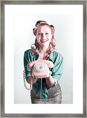Contact Us By Telephone Said A Vintage Pinup Woman Framed Print by Jorgo Photography - Wall Art Gallery