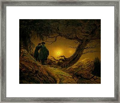 contemplant la Lune  Huile sur toile Framed Print