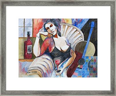 Contemplating Art And Music Framed Print by Guri Stark