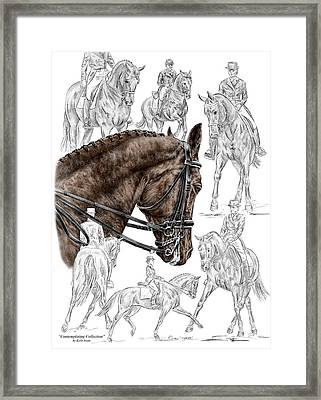 Contemplating Collection - Dressage Horse Print Color Tinted Framed Print by Kelli Swan