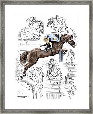 Contemplating Flight - Horse Jumper Print Color Tinted Framed Print