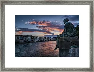 Contemplating Life In Basel Framed Print by Carol Japp