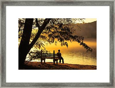 Contemplating Life On The Chattahoochee Framed Print by Mark E Tisdale
