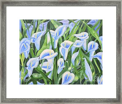 Contemplating Lilies Framed Print