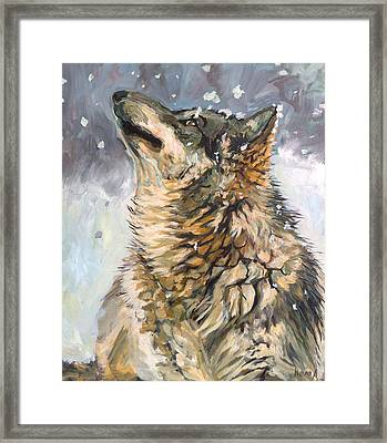 Framed Print featuring the painting Contemplating The Snow by Koro Arandia