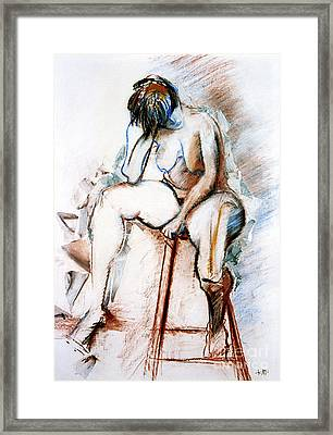 Contemplation - Nude On A Stool Framed Print by Kerryn Madsen-Pietsch