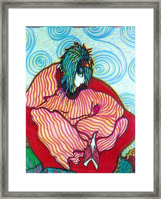Framed Print featuring the drawing Contemplation by Rae Chichilnitsky