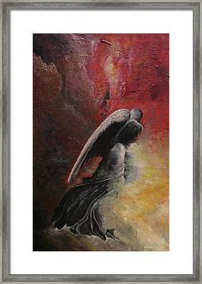 Framed Print featuring the painting Contemplative Angel by Mary Ellen Frazee