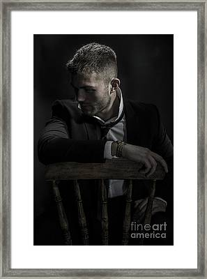 Contemplative Male Model Framed Print by Amanda Elwell