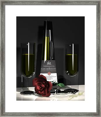 Contempoary Wine And Roses Framed Print