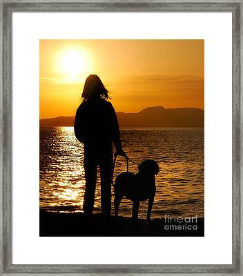 Contemporaneous Moment - Friends Sharing A Sunset Framed Print by Steven Milner