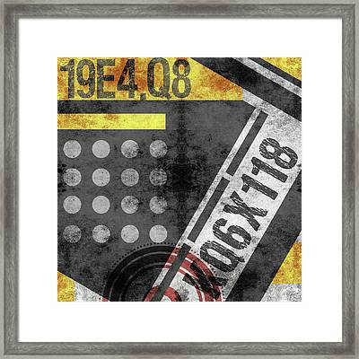 Contemporary Abstract Industrial Art - Distressed Metal - Black And Gold Framed Print