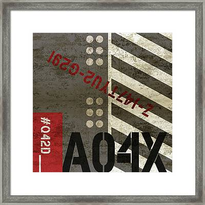Contemporary Abstract Industrial Art - Distressed Metal - Black And Grey Stripes Framed Print